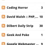 google reader main screen